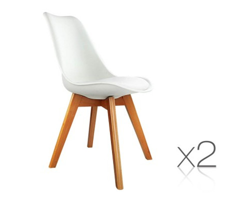 DASH SET OF 2 DINING CHAIR - LEATHERETTE SEAT - OFF WHITE / BEECH