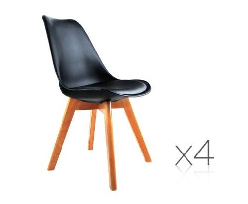 DASH SET OF 4 DINING CHAIR - LEATHERETTE SEAT - BLACK / BEECH
