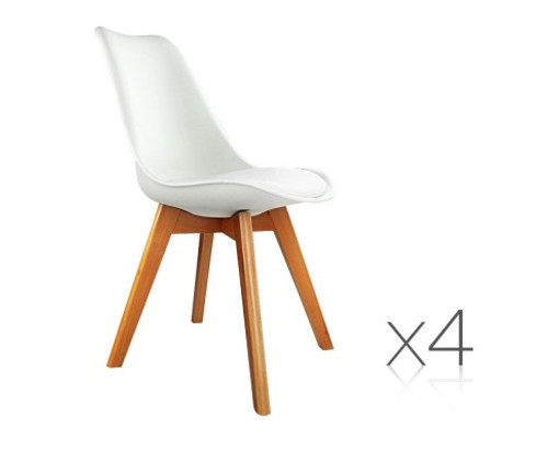 DASH SET OF 4 DINING CHAIR - LEATHERETTE SEAT - WHITE / BEECH