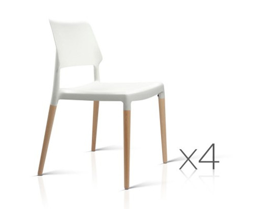 WALES SET OF 4 BELLOCH REPLICA DINING CHAIR - WHITE / BEECH
