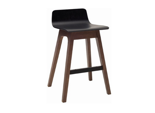 AVA  BAR STOOL  - LOW BACK - 890H -  BLACK STAINED ASH VENEER