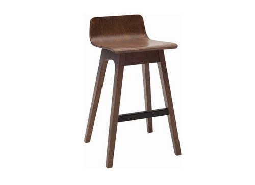 AVA  BAR STOOL  - LOW BACK - 890H -  WALNUT