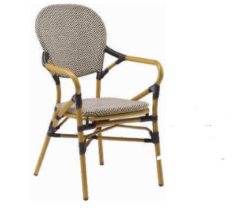 DOMINO CANE ARM CHAIR  (V-E7040) -  TEXTILE BLACK & WHITE RATTAN