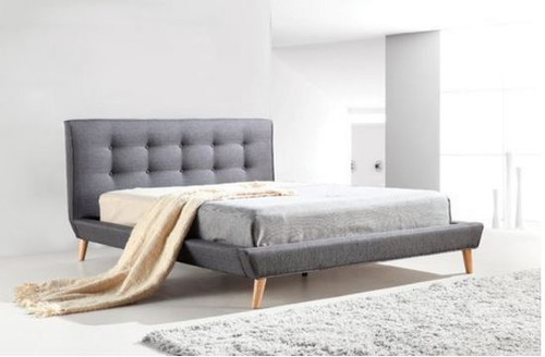 KING OSBORNE / PALERMO LINEN FABRIC BED WITH BUTTONED BEDHEAD - GREY