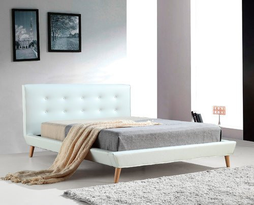 QUEEN OSBORNE PALERMO LEATHERETTE BED (819183) - BUTTONED BEDHEAD  - WHITE