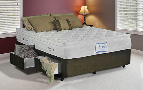 """DOUBLE PREMIUM (10"""" / 250mm) ENSEMBLE BASE ONLY (BASE DRAWERS OPTIONAL EXTRA) - LINEN FABRIC"""