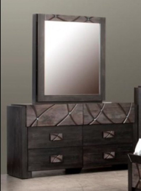 CHALET 6 DRAWER DRESSER WITH MIRROR - SAPPHIRE / SWAROVSKI CRYSTALS