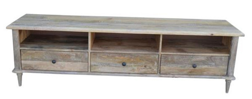 CONSTANCE   ENTERTAINMENT UNIT WITH 3 DRAWERS & 1 LONG SHELF (NOT 3 AS PICTURED)   -500(H) x 1750(W) - DISTRESSED WHITEWASH