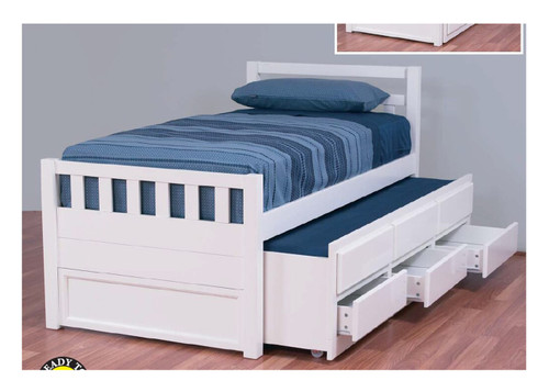 SINGLE JAHED CAPTAINS  BED ( 11-18-21-26) WITH 3 STORAGE DRAWERS AND SINGLE TRUNDLE - ARCTIC WHITE