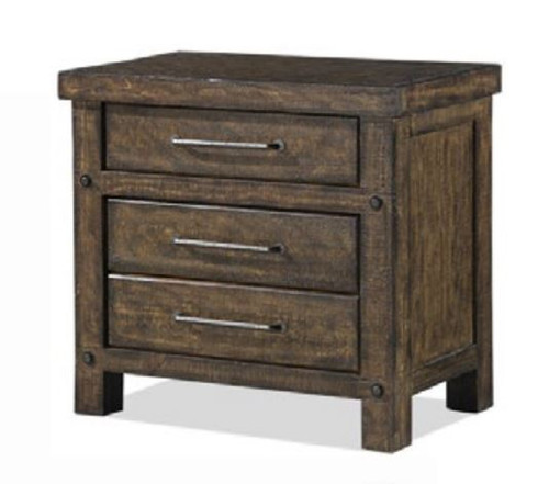 CLIFTON 3  DRAWERS BEDSIDE TABLE - RUSTIC