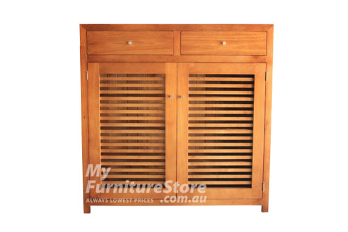BANDY SHOE CABINET WITH 2 LATTICE DOORS / 2 DRAWER 1200(H) X 900(W) – ASSORTED COLOURS