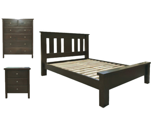 EMERALD QUEEN 4 PIECE 6 DRAWERS TALLBOY BEDROOM SUITE - WENGE