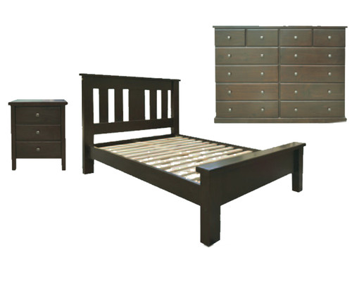 EMERALD QUEEN 4 PIECE 12 DRAWERS TALLBOY BEDROOM SUITE - WENGE