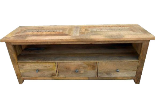 HEXAGON PARQUETRY SOLID TIMBER ENTERTAINMENT UNIT WITH  4 DRAWERS -550(H) X 1900(W)