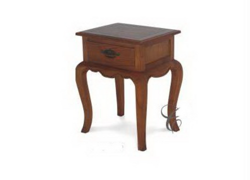 FRENCH PROVINCIAL LAMP TABLE WITH ONE DRAWER- 500(W) - ASSORTED COLOURS