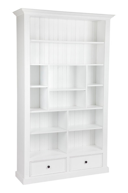 HERALDY BOOKCASE WITH 12 SHELVES / 2 DRAWERS 1200(W) - (2-1-25-19-9-4-5) - 2100(H) X 1200(W) - ASSORTED PAINTED COLOURS
