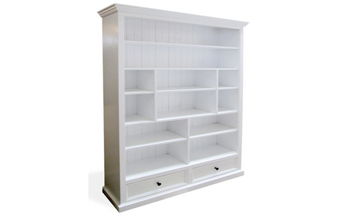 HERALDY BOOKCASE WITH 12 SHELVES / 2 DRAWERS 1200(W) - (2-1-25-19-9-4-5) -  2100(H) X 1200(W) - PAINTED COLOURS