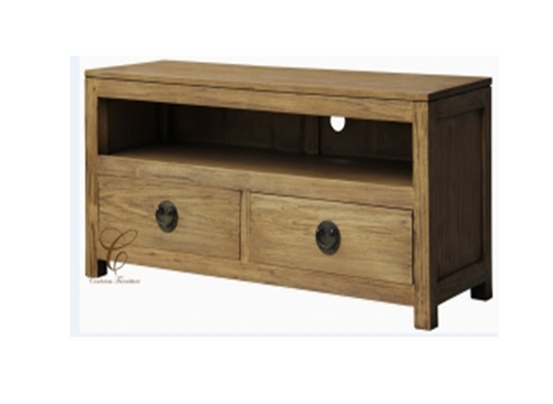 VIENNA 2 DRAWER LOW ENTERTAINMENT UNIT (SB 002 VIE) - 540(H) x 1200(W) - NATURAL TEAK