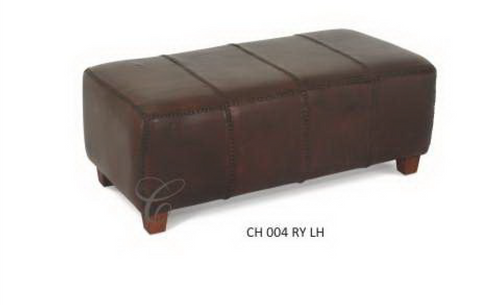 RYNO LARGE LEATHER OTTOMAN / STOOL -  (CH 004 RYLH ) -420(H) X 1060(W) - MAHOGANY