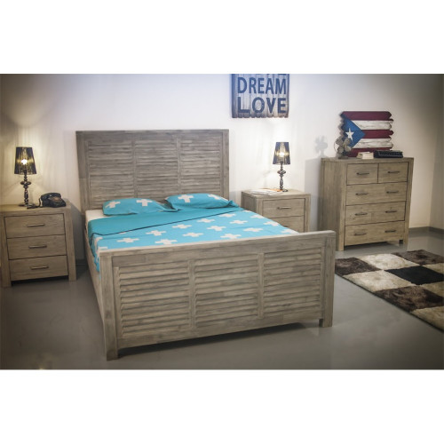 AUSTENE QUEEN 3 HARDWOOD BEDSIDE BEDROOM SUITE - SANDBLAST / LIGHT GREY