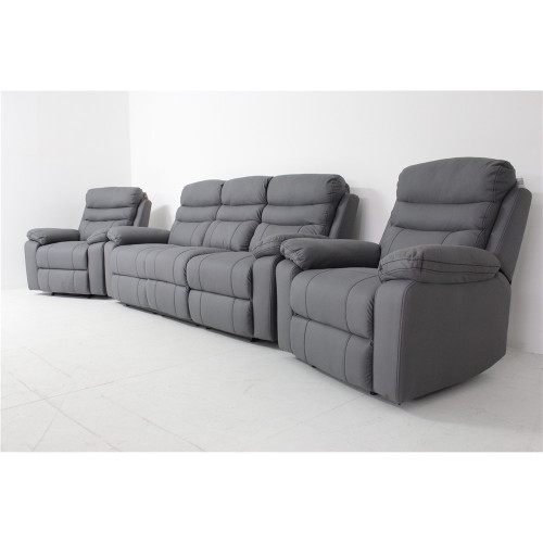 GENOA RECLINER LOUNGE - 2RR + 1R + 1R - ONYX (GREY) SUEDE FABRIC