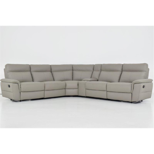 ADELINA 5 SEATER MODULAR PREMIUM LEATHER THICK LOUNGE - LIGHT GREY