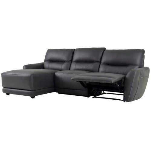 CAMELLIA 3 SEATER RHF CHAISE PREMIUM THICK LEATHER - BLACK OR DARK GREY