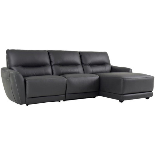CAMELLIA 3 SEATER ELECTRIC RECLINER RHF CHAISE - PREMIUM THICK LEATHER - DARK GREY OR LIGHT GREY