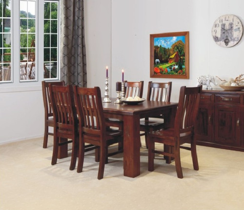 RUSTIC 11 PIECE DINING SUITE WITH 10 MATCHING DINING CHAIRS (NOT AS PICTURED) - 2400(L) X 1050(W)