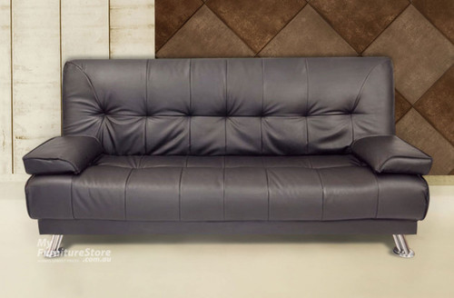 ROBYN CLICK CLACK LEATHERETTE SOFA BED SET (2 X 2 SEATER SOFA BEDS) - BLACK (IMAGE SHOWN IN CHOCOLATE)