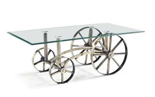 COBB & CO COFFEE TABLE - GLASS TEMPERED - 1300(W) X 700(D) - METAL BASE