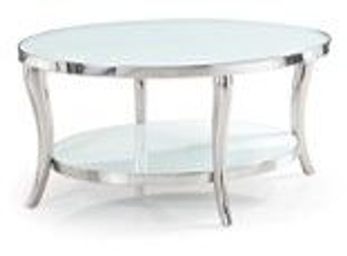 MAINE OVAL COFFEE TABLE - GLASS TEMPERED - 900(W) X 710(D) - METAL BASE - NICKEL