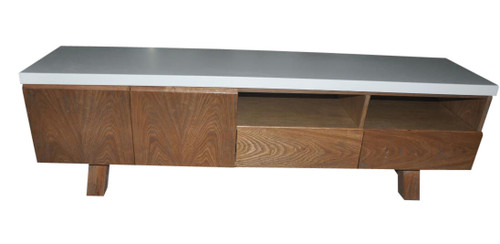 COPACABANA ENTERTAINMENT UNIT 550(H) x 1800(W) - CONCRETE (DARKER GREY TOP) OR WHITE LAMINATE TOP (PICTURED)