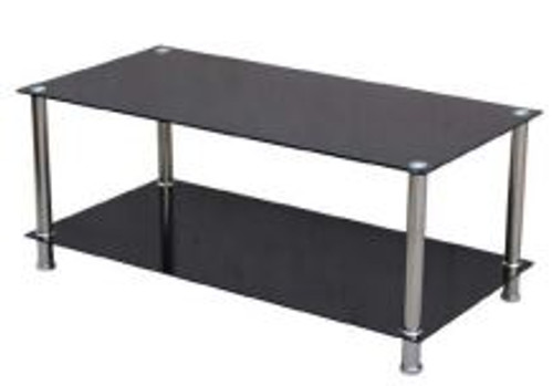 NARELLAN COFFEE TABLE WITH SHELF CHROME/GLASS TEMPERED -1100(W) x 550(D)- BLACK GLASS