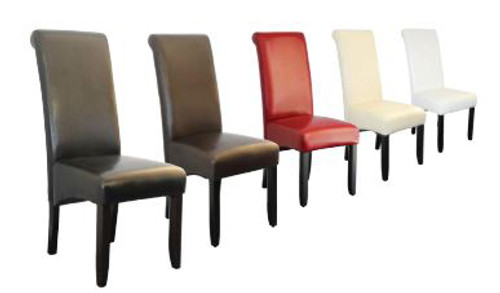 AVALON DINING CHAIR WITH WENGE LEGS - BLACK , BROWN, RED, IVORY, WHITE