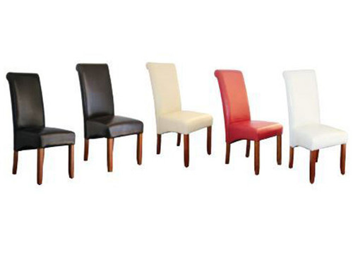 AVALON DINING CHAIR WITH CHESTNUT LEGS - BLACK , BROWN, RED, IVORY, WHITE