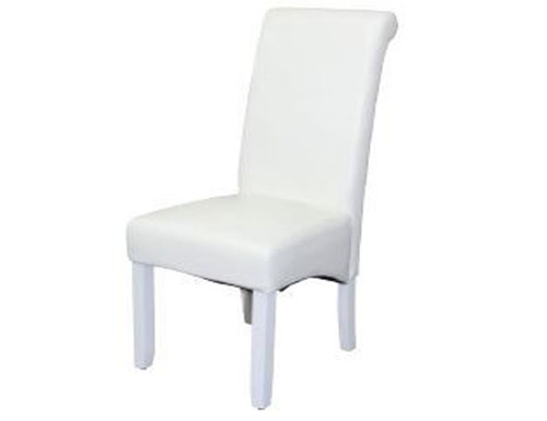 AVALON LEATHERETTE DINING CHAIR - WHITE WITH WHITE LEGS