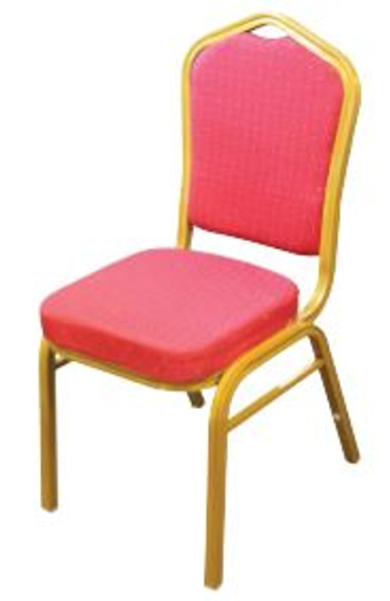 BANQUET CHAIR  - RED FABRIC WITH GOLD FRAME