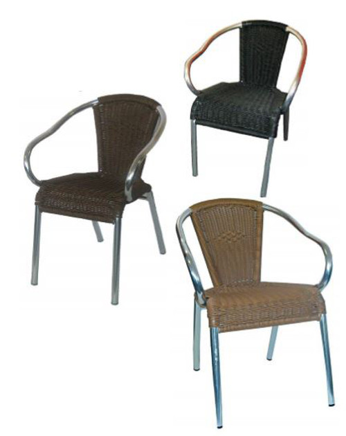 BOULEVARD ALUMINUM WEAVE CHAIR - BLACK , BROWN , HONEY