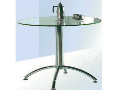CASEY ROUND DINING TABLE - 900(DIAM) STAINLESS STEEL FRAME/CLEAR GLASS TOP