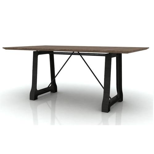 CABANA  HARDWOOD /METAL DINING TABLE  ONLY - 2100(L) X 1050(W) - MOCHA GREY / BRUSHED BLACK