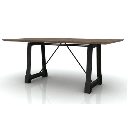 CABANA   2100(L) X 1000(W) HARDWOOD /METAL DINING TABLE  ONLY - MOCHA GREY / BRUSHED BLACK