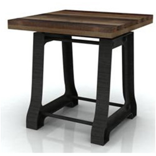 CABANA HARDWOOD / METAL TABLE  - MOCHA GREY / BRUSHED BLACK
