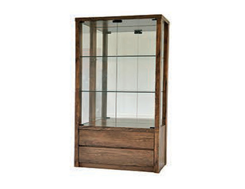 RUTH  DISPLAY CABINET - 1800(H) x 800(W) - ANTIQUE OAK