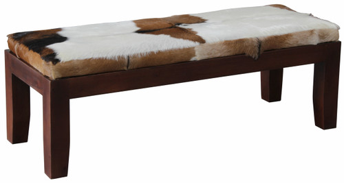 ARDMORE SOLID TIMBER DOUBLE BENCH WITH GOAT HIDE SEAT - 470(H) x 1300(W) -MAHOGANY