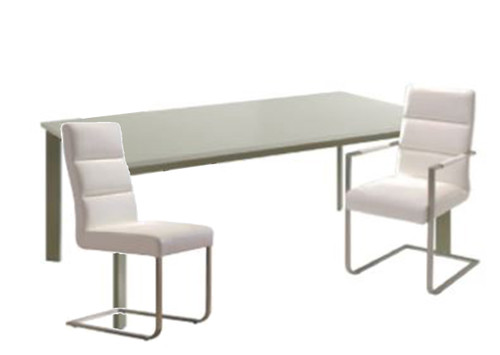 BOUTIQUE 7 PCE DINING SETTINGWITH 2x 6311K DINING CHAIRS WITH ARM & 4x 6322K DINING CHAIR -1800(L) x 1000(W)TABLE