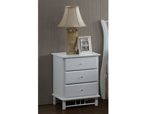 FRANKLIN/CHESTER/CRYSTAL BEDSIDE WITH 3 DRAWERS - WHITE