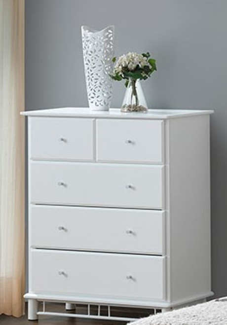 FRANKLIN/CHESTER/CRYSTAL TALLBOY WITH 5 DRAWERS - WHITE