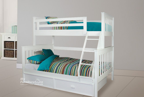 AWESOME (MODEL 6-15-18-20-5) TRIO BUNK BED WITH MATCHING RANCH SINGLE FITTED FACED TRUNDLE BED - ARCTIC WHITE