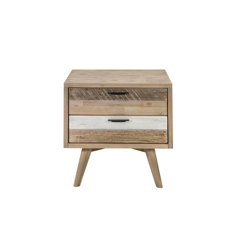 CUBAN BEDSIDE TABLE 2 DRAWER - ACACIA - GREY SHADE
